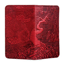 River Garden in Japan Red Hand Crafted Leather Checkbook Cover Oberon Design