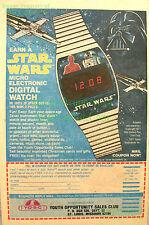 Vintage 1977 Print Ad Star Wars Texas Inst. Digital Watch R2-D2 C3P0 Darth Vader