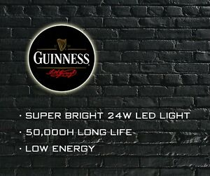 Guinness Beer LED ILLUMINATED SIGN, WALL MOUNTED LIGHT BOX for Garage, Man Cave