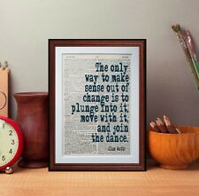 Alan Watts Quote dictionary page Print inspiration literary gift books art