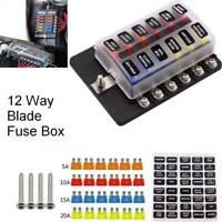 12 Way Car Auto Boat Bus UTV Blade Fuse Box ATO ATC Block Holder Cover 12V + LED