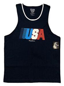 NWT! Rowdy Gentlemen USA Muscle Shirt Athletic Tank Top  Men XL  Navy Blue