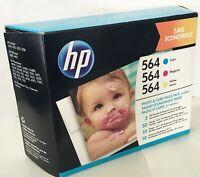 HP 564 3 Ink Cartridges Cyan, Magenta, Yellow Photo & Card Value Pack Original