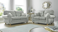 Grey High Quality Fabric Material 3 Seater + 2 Seater Sofa Suite CLARENCE