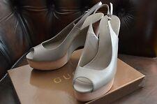 $990 Gucci Gravel Wedge Open Shoes Heels 39.5 9.5 Wimbledon Pumps Grey Leather