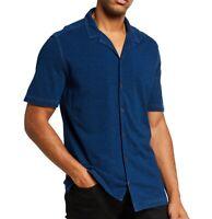 John Varvatos Star USA Men's Short Sleeve Jackson Camp Collar Shirt Indigo XL
