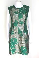 PHILLIP LIM  Green Metallic Jacquard Mini Shift Dress 6 uk 10