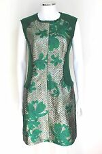 PHILLIP LIM  Green Metallic Jacquard Mini Shift Dress 6 uk 10