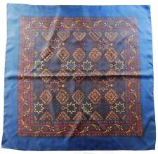 """Vintage Paisley pattern silk scarf with diamonds and stars 36"""" square el"""
