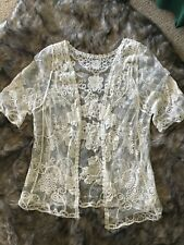Women's Ivory Lace Top Cover-Up Jacket Tunic Evening Wedding size M