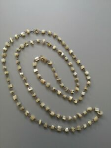Antique Victorian Mother of Pearl Bead Necklace, Metal Link