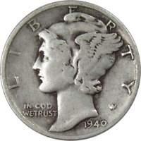 1940 D 10c Mercury Silver Dime US Coin F Fine