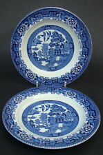 TWO Vintage Woods Blue Willow 2 x Side or Bread Size Plates 17cm - V Light Craze