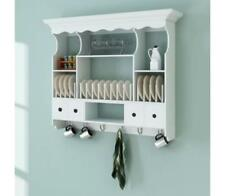 White Kitchen Wall Storage Unit Hooks Drawers Shelves Plate Mounted Rack Cabinet