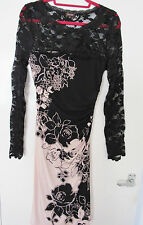 PHASE EIGHT LADIES DRESS - PINK WITH BLACK LACE - SIZE 12 LONG SLEEVES -