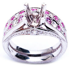 .76ct Pink Sapphire & Round Diamond Semi Mount Engagement Ring Wedding Set