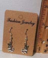 Handmade  Silver Plated Double Sided Bunny Dangle Earrings - Free Shipping