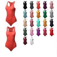 FashionOutfit Women Solid Sleeveless Round Neck Cotton Based Racer-Back Bodysuit