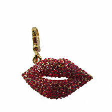 Juicy couture Charm Pave Red Lips Gold Tone 2006