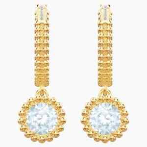 NWT SWAROVSKI White Crystal Gold-tone Plated Oxygen Pierced Earrings 5456652
