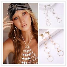 Exaggeration European Women Long Chain Round Alloy Dangle Women Earrings Jewelry