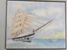 Handpainted TILE of The Prince William Ship Square Rigger Tall Ships Youth Trust