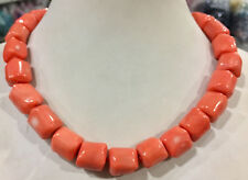 """Natural light pink coral 14-16mm irregular bead necklace chain gemstone 18"""""""
