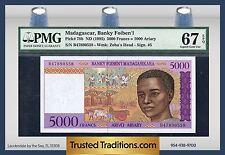 TT PK 78b 1995 MADAGASCAR 5000 FRANCS = 1000 ARIARY PMG 67 EPQ POPULATION THREE!