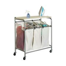 3 Bin Laundry Sorter Basket Ironing Board Combo Rolling Clothes Hamper Removable
