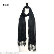 Elegant Men's Women Solid Black Color Silk-Cotton Scrunch Fringe Scarf Shawl