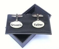 """Father of the Groom Gift - """"Groom's Father""""-Cream Style CUFF LINKS in a GIFT BOX"""