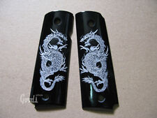 Silver Dragon art on Black Resin Grip For Colt 1911 Full Size Kimber Clones