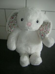 Asda white bunny rabbit floral ears soft toy