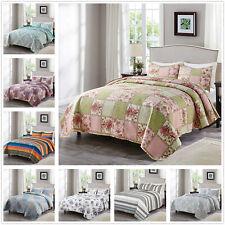 Floral Pattern Printed Quilt Set Coverlet All Season Microfiber Bedspread Set