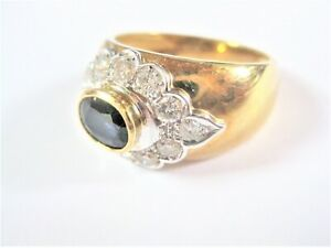 Ring Gold 750 With Sapphire And Diamonds, 6,97 G