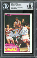 Lakers Magic Johnson Authentic Signed 1981 Topps #21 Card BAS Slabbed