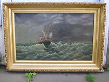 Fishing Boat Caught in Storm 19th Century Oil Painting Canvas Ship Seascape Art
