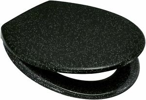 LUXE BLUE CANYON STARLIGHT BLACK GLITTER TOILET SEAT STAINLESS STEEL HINGES