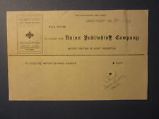 Old 1916 - Union Publishing Co. - GRASS VALLEY CA. - Billhead - Document