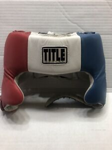 Title Official Competition Boxing Headgear With Cheeks-Small Red,white,blue Used