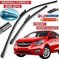 "Vauxhall Corsa D 2006-14 Front Windscreen 26"" 16"" Flat Aero Wiper Blades Set UK"