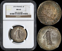 FRANCE 2 FRANCS 1919 (NGC MS63) *NICELY TONED*