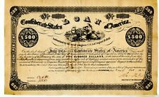 1863   $500   Confederate Bond.  Number issued 700