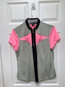 Jamie Sadock Women's Short Sleeve Golf ShIrt M Multicolored 1/4 Zip Pockets Trim