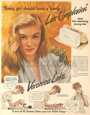 VTG 1943 Lux Soap VERONICA LAKE Movie Star Beauty BATHROOM Bath Glamour Girl AD
