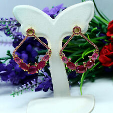 NATURAL RED RUBY & PINK SAPPHIRE EARRINGS 925 STERLING SILVER