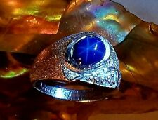 """*MENS ESTATE 1.42 Cts. STAR  SAPPHIRE & 14k WHITE GOLD RING ~ """"CUSTOM CRAFTED"""""""