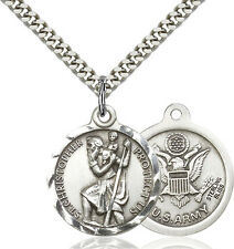 925 Sterling Silver St Christopher Army Military Soldier Catholic Medal Necklace