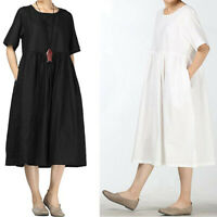 Women Cotton Solid Shift Midi Dress Casual Short Sleeve Cozy Dress with Pockets