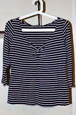 Ladies Marimekko SAMU JUSSI KOSKI Viscose Striped 3/4 Sleeve Blouse Shirt Size L